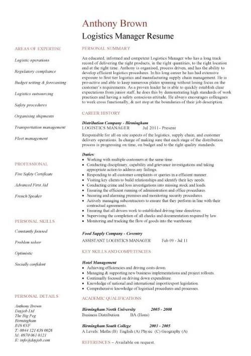 Logistics Manager CV Template, Example, Job Description, Supply Chain  Manager, Delivery Of Goods, C