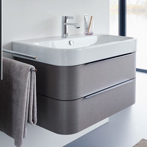 Image of Duravit Happy D2 775mm Wall Mounted White Vanity Unit With Basin. Image of Duravit Happy D2 775mm Wall Mounted White Vanity Unit
