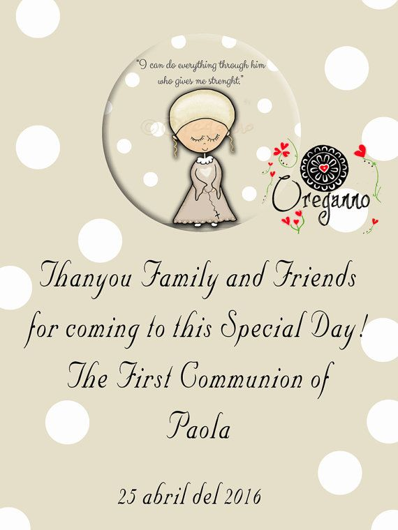 Girl First Communion Magnet Thankyou Card Favor By Oreganno Alexa
