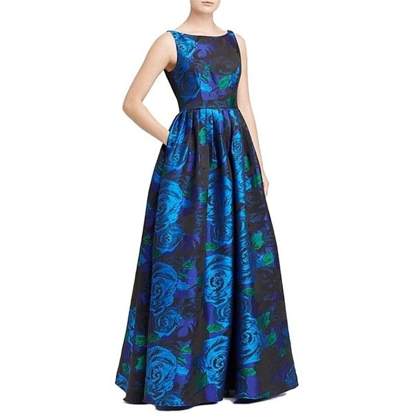 Pre-owned Adrianna Papell Blue Green Sleeveless Floral Ball Gown ...