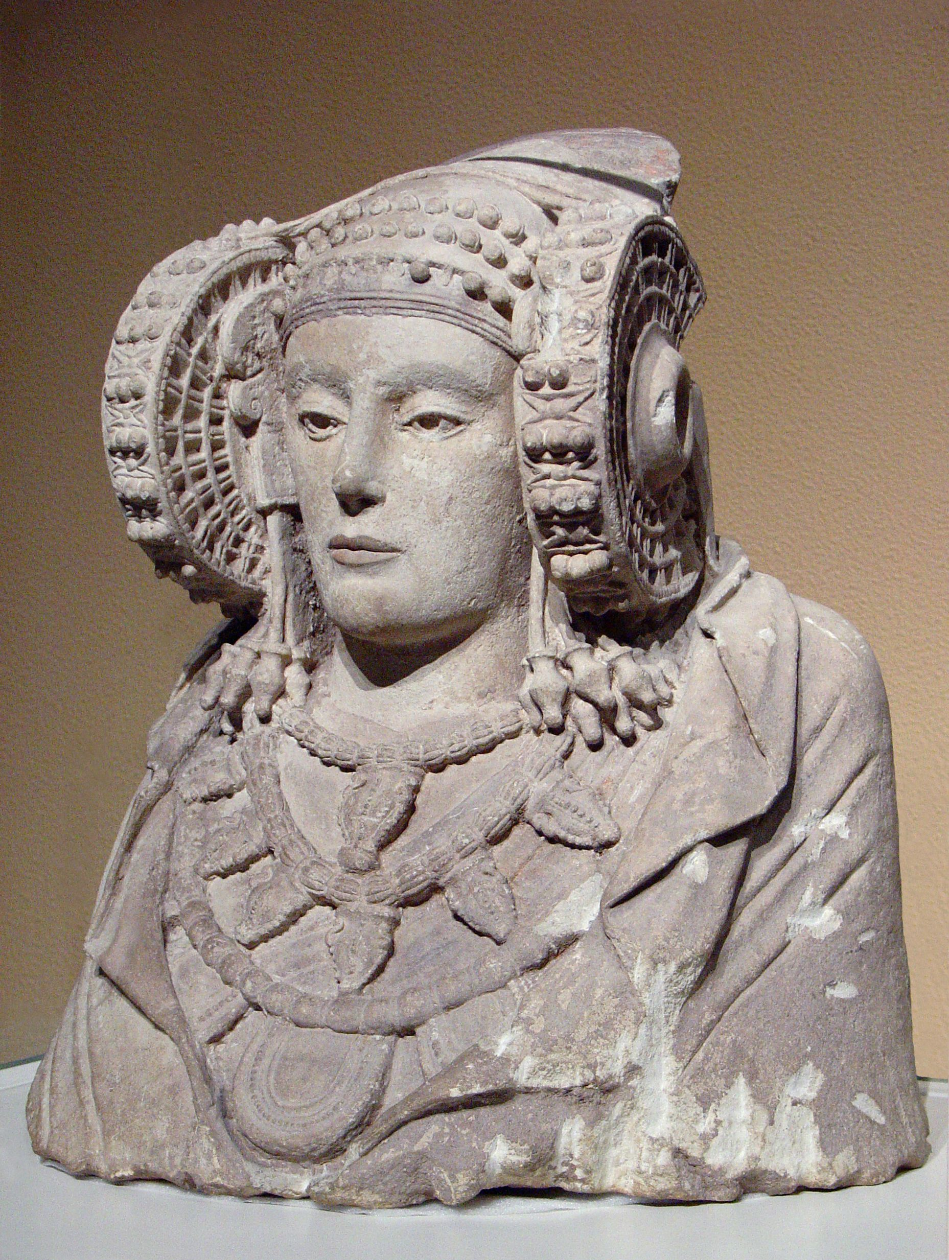 "La Dama de Elche -- ""The Lady of Elx, an Iberian piece from the 4th century B.C. on display at the National Archaeological Museum of Spain in Madrid. Probably the finest Iberian sculpture found to date."""