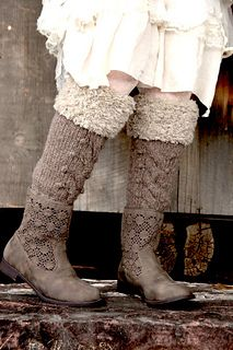 Very clever combo... short crochets booties with leg warmers in a matching color.  Gives the impression of tall boots.