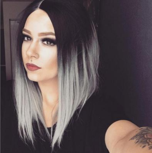Hot Gothic Style Dark Roots Ombre Gray Wig Short Bob