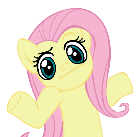 Fluttershy from My Little Pony shrugging