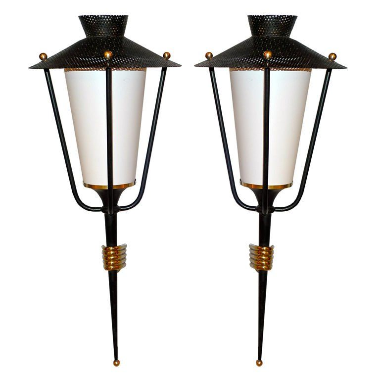 Pair of French 1950's Lantern Sconces