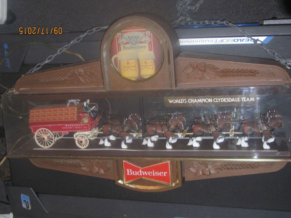 Large Budweiser Clydesdales & Dalmatian Wagon Hanging Light Clock Sign  | eBay