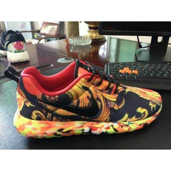 Custom Yellow Black Sail Nike Roshe Run Dragon and Phoenix Red Mens