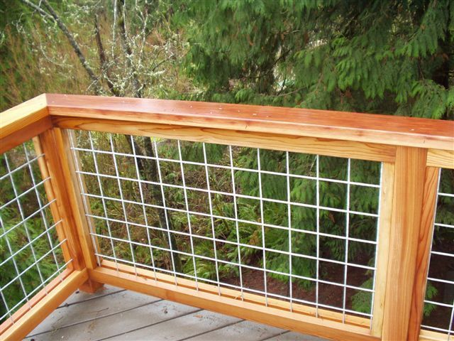 Hog Fence Wire Mesh Panels Surrounded By Cedar Or Pressure Treated Pine Wire Deck Railing Deck Railings Backyard Fences