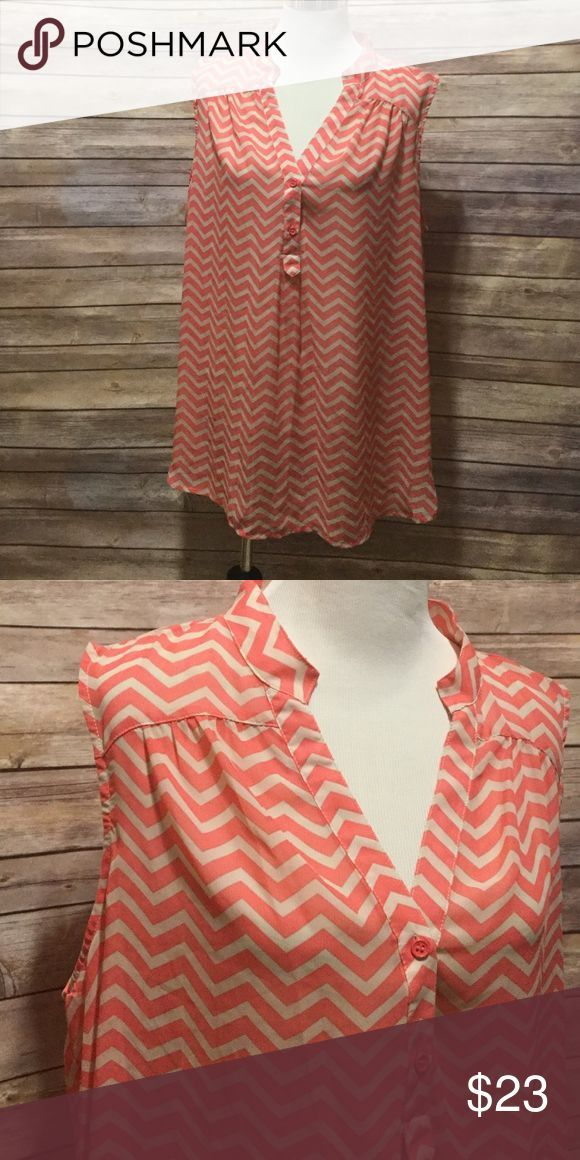 9bc581d191892 Chevron blouse plus size Cream and tan chevron blouse. Sleeveless. Looks  great under a