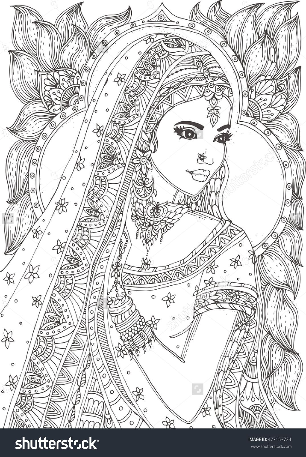Printable Mandala Coloring Pages For Grown Up beautiful indian woman zendala coloring page