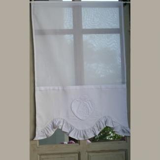 brise bise coeur blanc et volant largeur 60 cm trousseau d 39 anath trousseau d 39 anath rideaux et. Black Bedroom Furniture Sets. Home Design Ideas