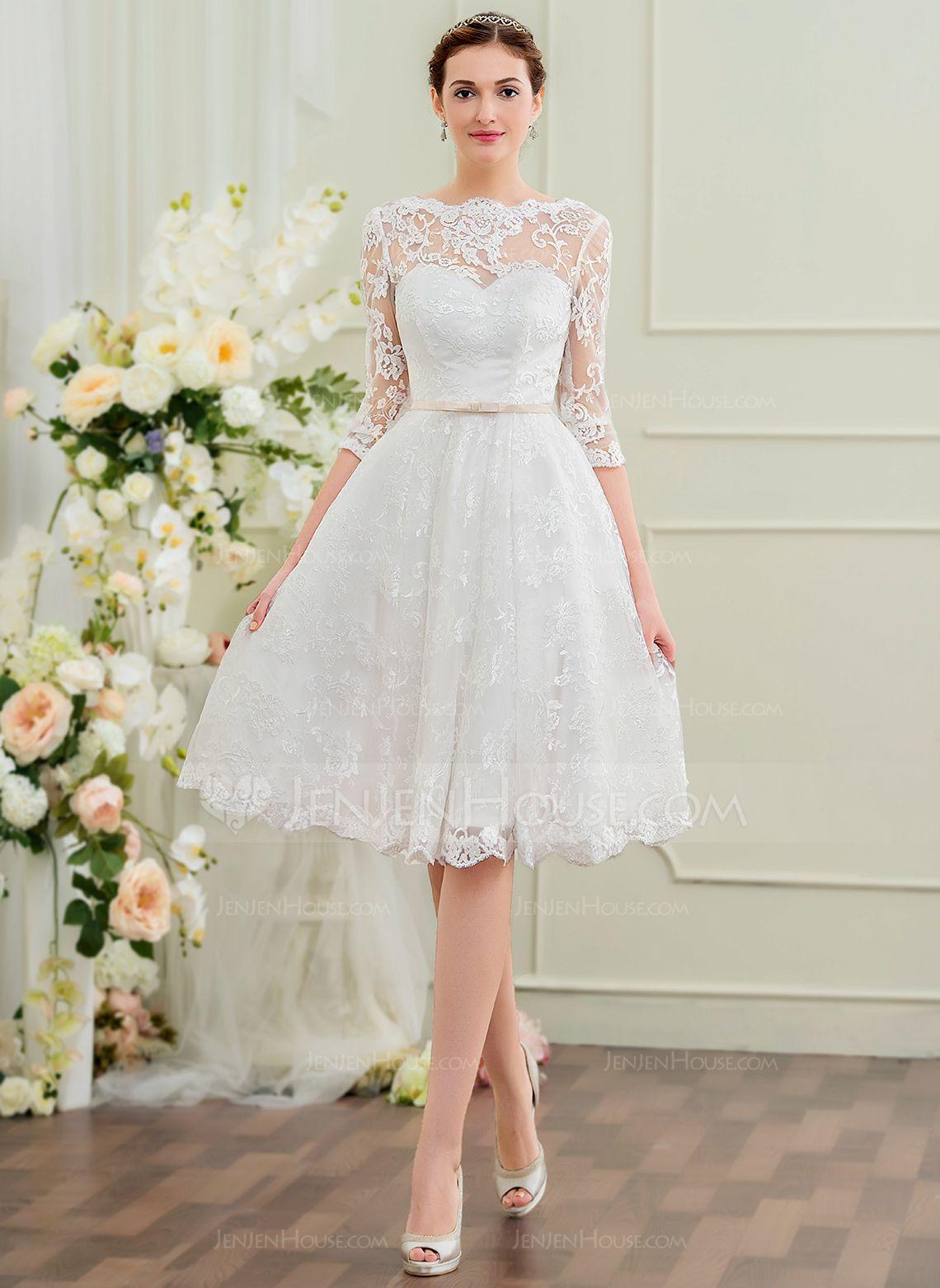 d898536e5fa A-Line Princess Scoop Neck Knee-Length Lace Wedding Dress With Bow(s)  (002095845) - JenJenHouse