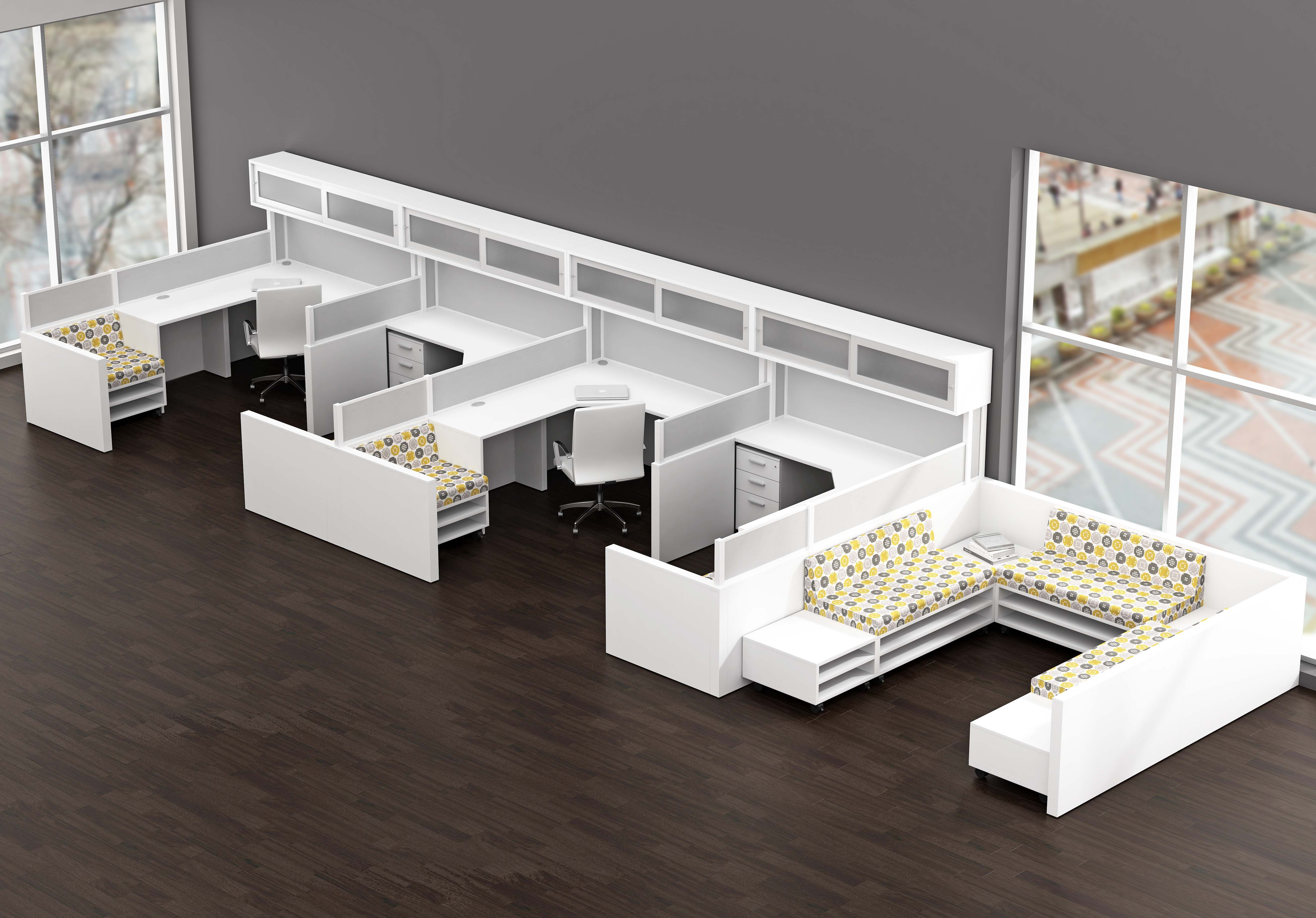 Free Standing Open Plan Workstations That Do Not Use Panels But
