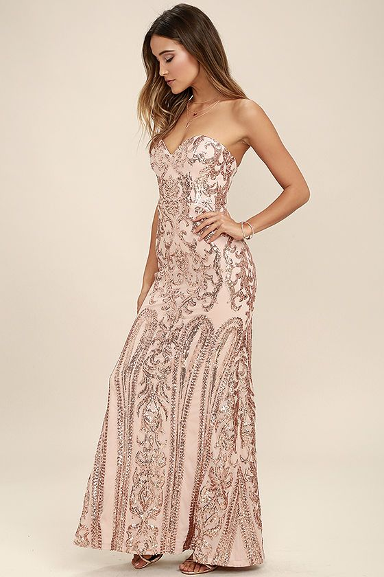 7082833d14 The Bariano Rebecca Rose Gold Strapless Sequin Maxi Dress is sure to make  you the belle of the ball! A breathtaking rose gold sequin pattern covers a  ...