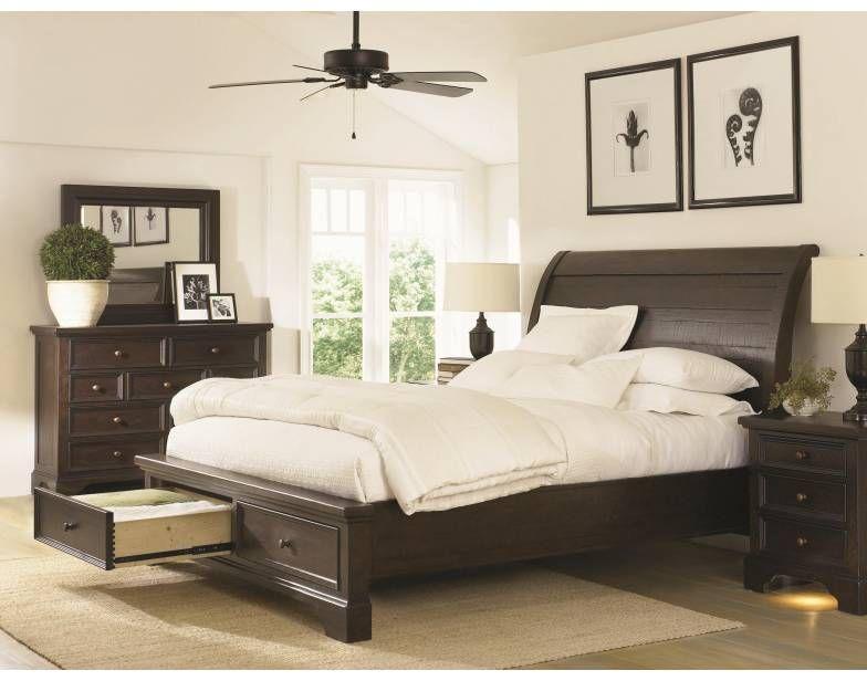 Bayfield Sleigh Bed (Q) w/Storage   Aspen Furniture   Star Furniture   Houston, TX Furniture   San Antonio, TX Furniture   Austin, TX Furniture   Bryan, TX Furniture   Mattresses and Accessories