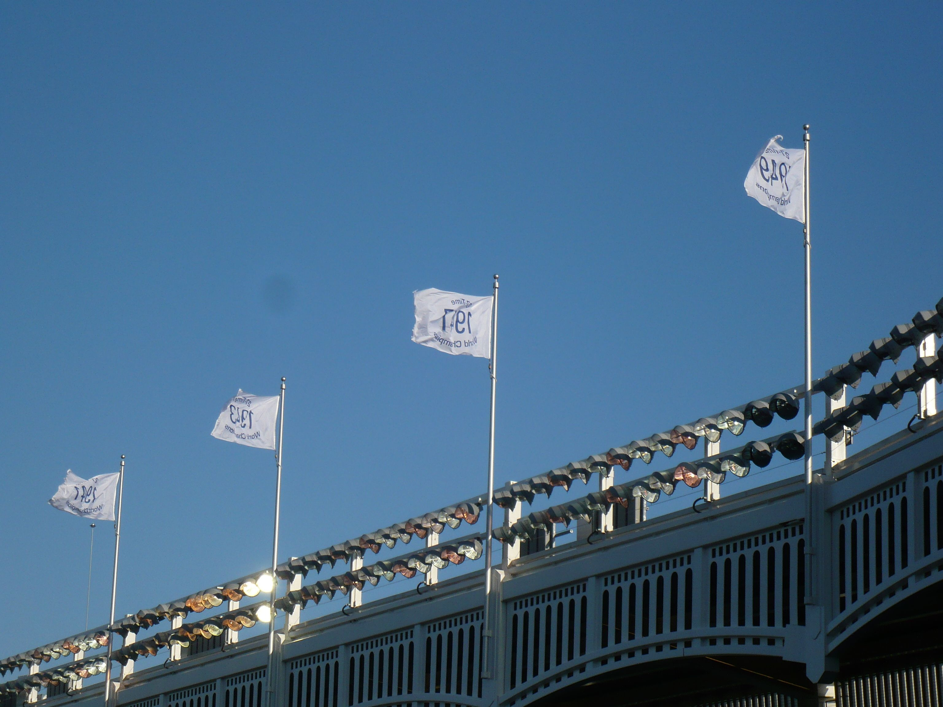 Championship Flags On The Frieze At Yankee Stadium Yankee Stadium New York Yankees Ny Yankees