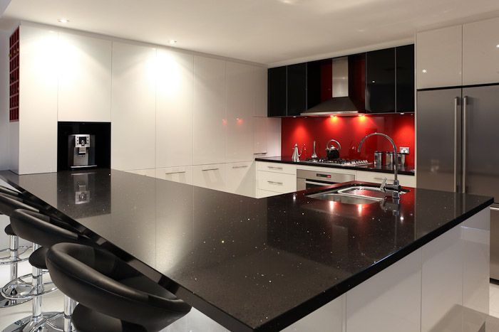 black, white, and red kitchen | Black, white and dazzling red designer  kitchen