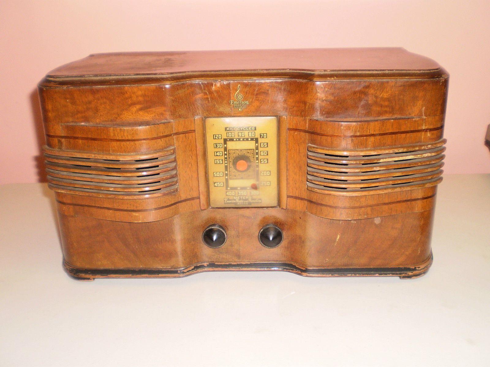 Emerson Wooden Radio For Restoration Or Parts Model 376 Ingraham Cabinet Vintage Radio Radio Old Radios