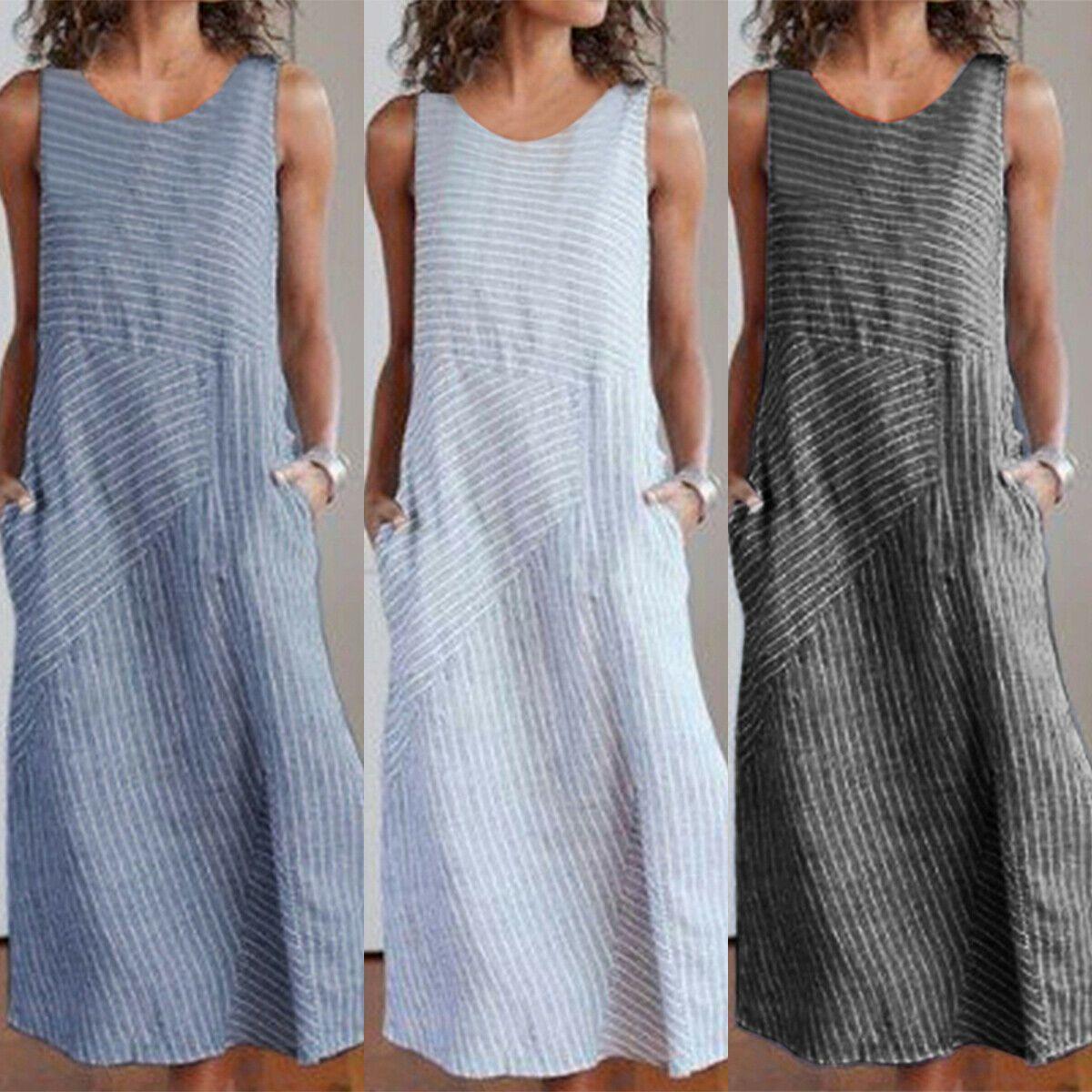 Womens Striped Cotton Linen Maxi Dress Sleeveless Summer ...