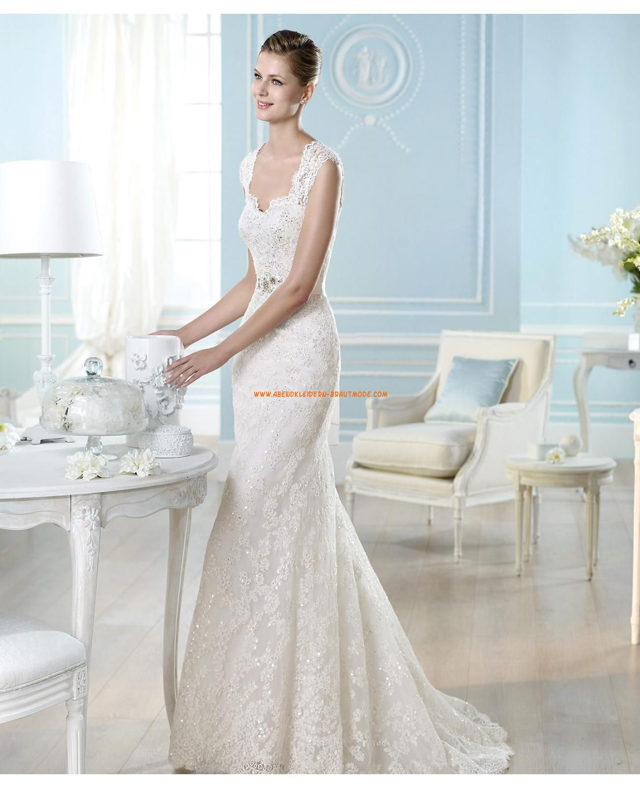 2014 Sexy Brautkleider mit Spitze aus Satin Herzausschnitt ...