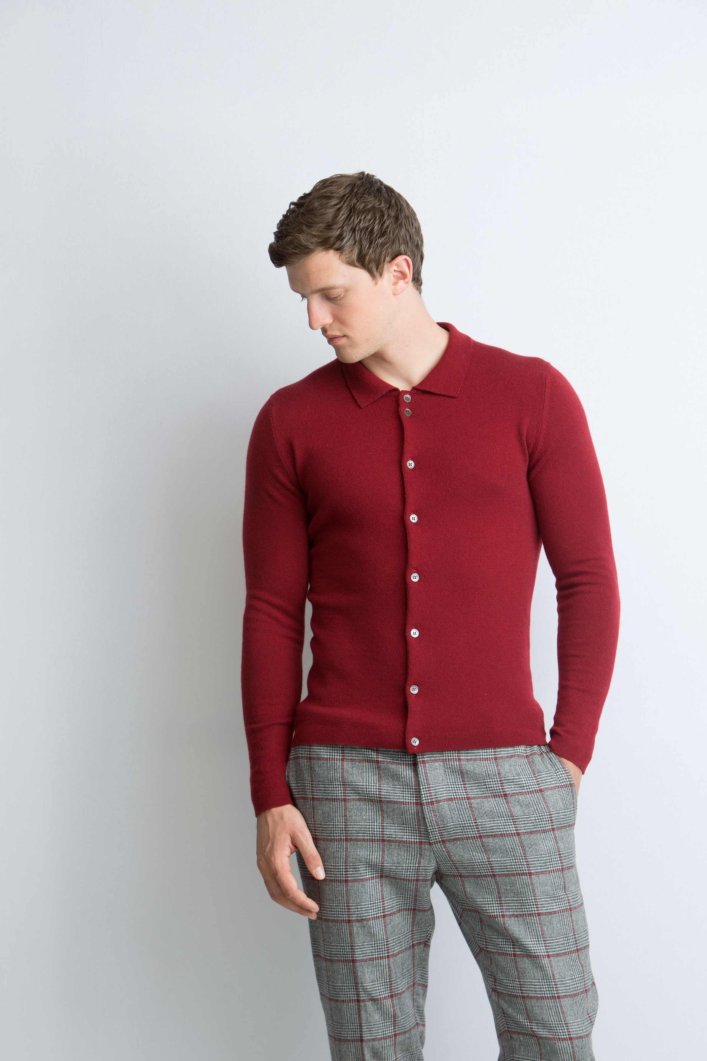 75b698538cb Tailored polo shirt cashmere cardigan in cabernet red | Knitwear ...