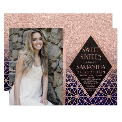 Rose gold frame navy blue stars photo Sweet 16 Card | Sweet 16 and ...