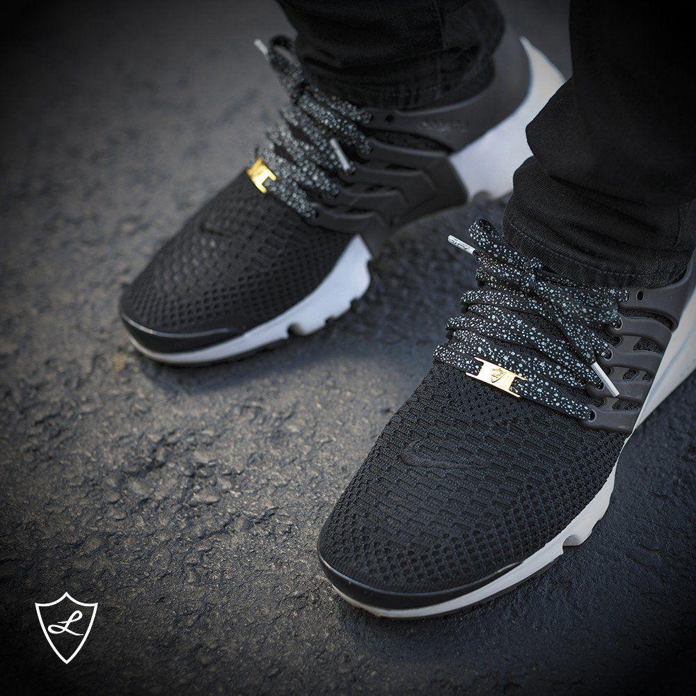 quality design b684e 97cc5 Laced Up Laces   Black cement print shoelaces   Black flat shoe laces   Nike  Presto laces   Gold lace locks