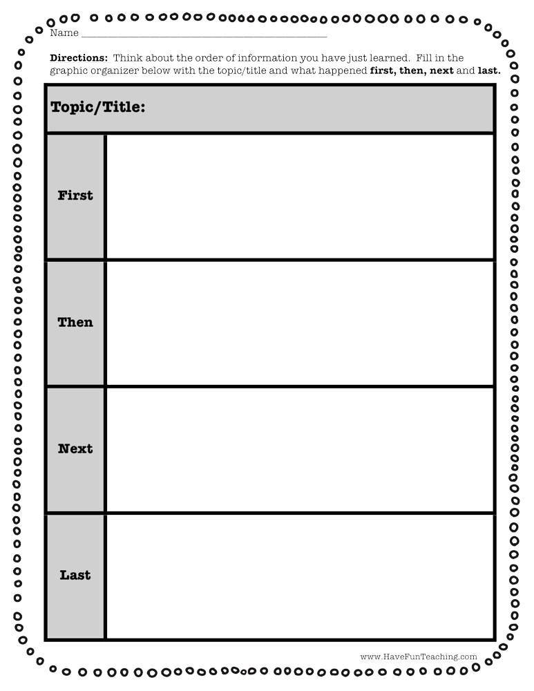 First Next Then Last Graphic Organizer Worksheet Graphic