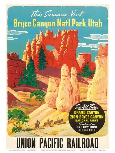 Bryce Canyon, Union Pacific Railroad c.1935 Print at Art.com