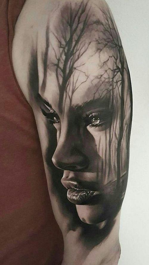 Shoulder Tattoo Girl Black Realism -  #
