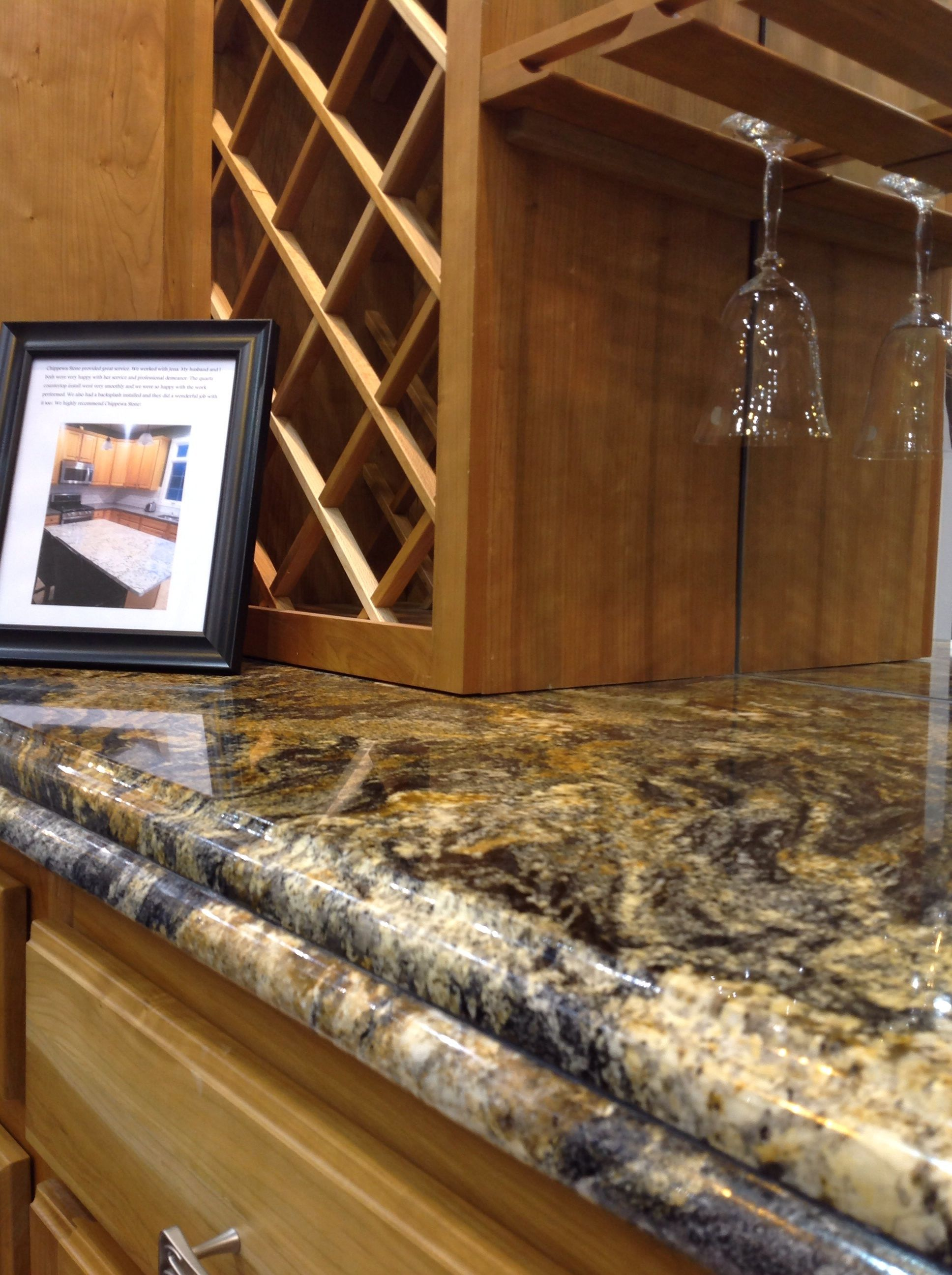 Magma Gold Granite With Double Bullnose Edge By Chippewa Stone Beautiful Kitchen Cabinets Classic Kitchen Cabinets Kitchen Cabinet Styles