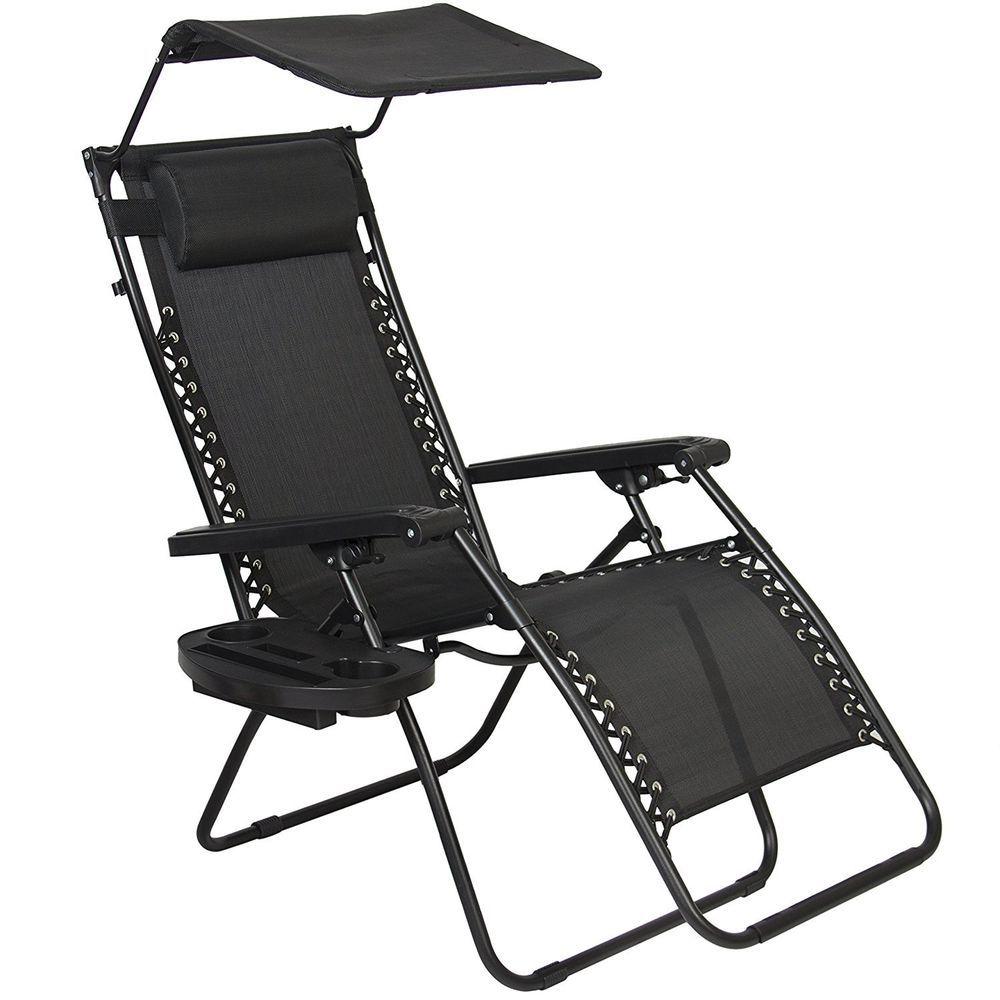 Zero Gravity Chair Canopy Sunshade Lounge Cup Holder Patio