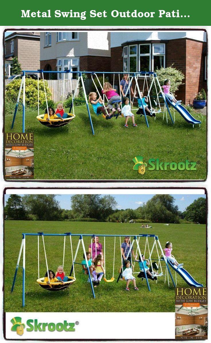 metal swing set outdoor patio swings kids slide backyard