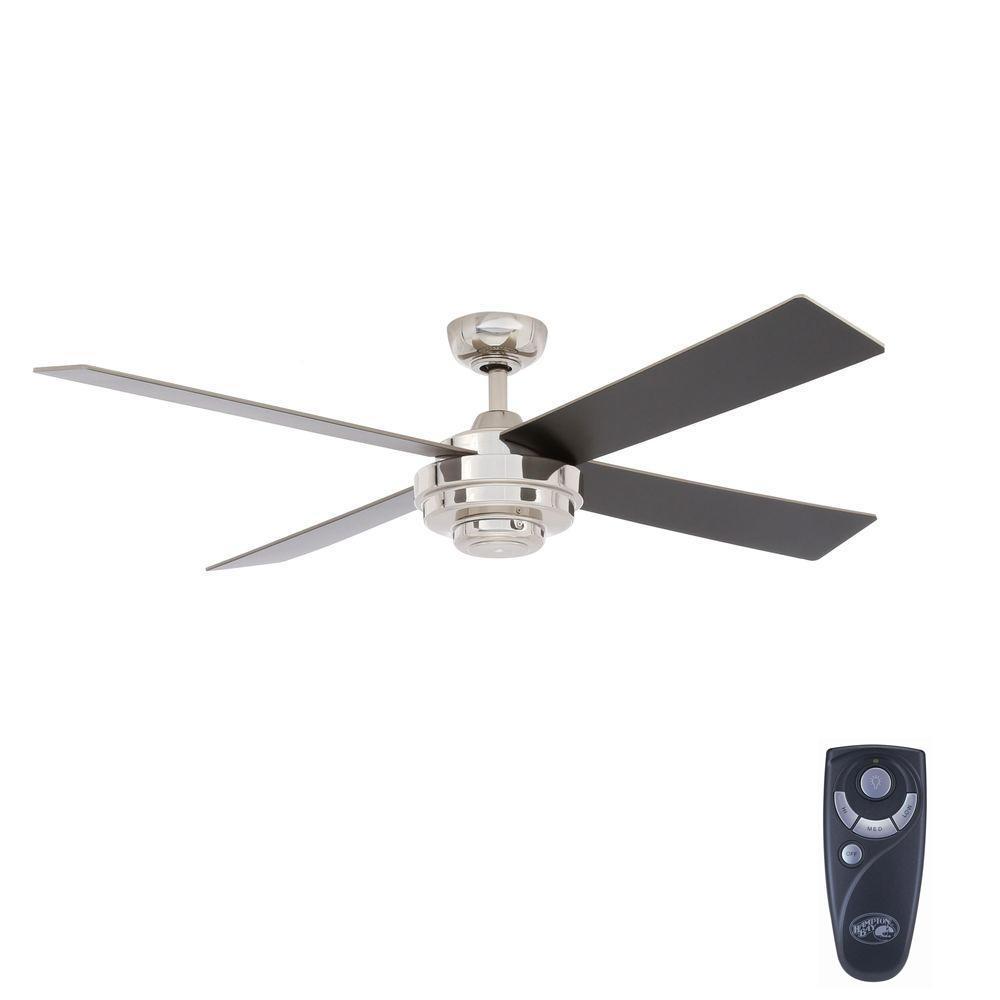 Hampton Bay Kemper Ii 52 In Indoor Liquid Nickel Ceiling Fan With Remote Control Al663a Ln Ceiling Fan With Remote Ceiling Fan Ceiling Fan Design