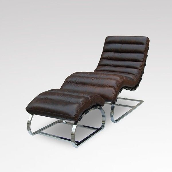 Leather Chaise Lounge Chairs | ... Chaise chair and Ottoman top grain vintage brown Brazilian leather