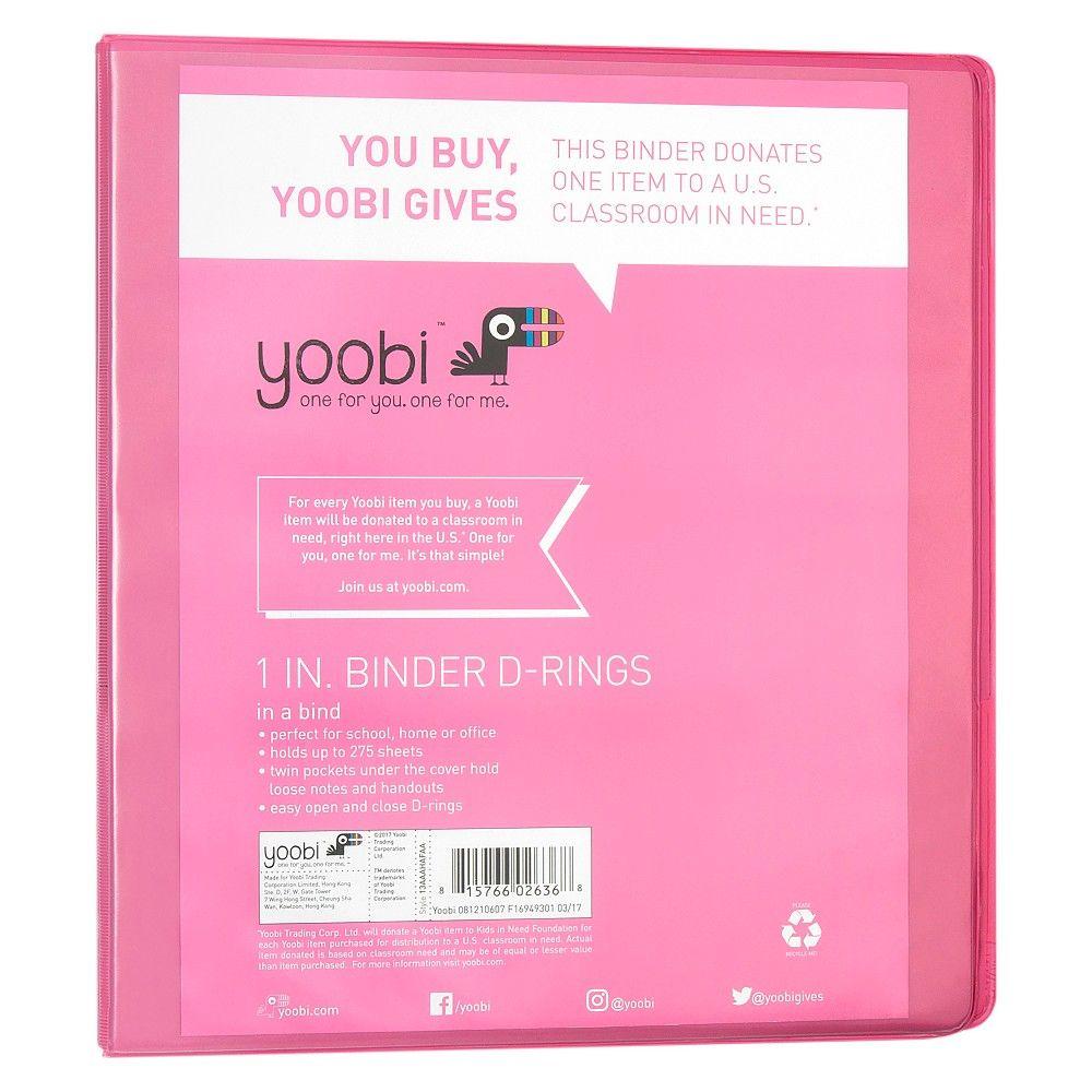 Yoobi 1 3 Ring Binder Pastel Pink 1 Inch Binder Ring Binder Pink Stationery