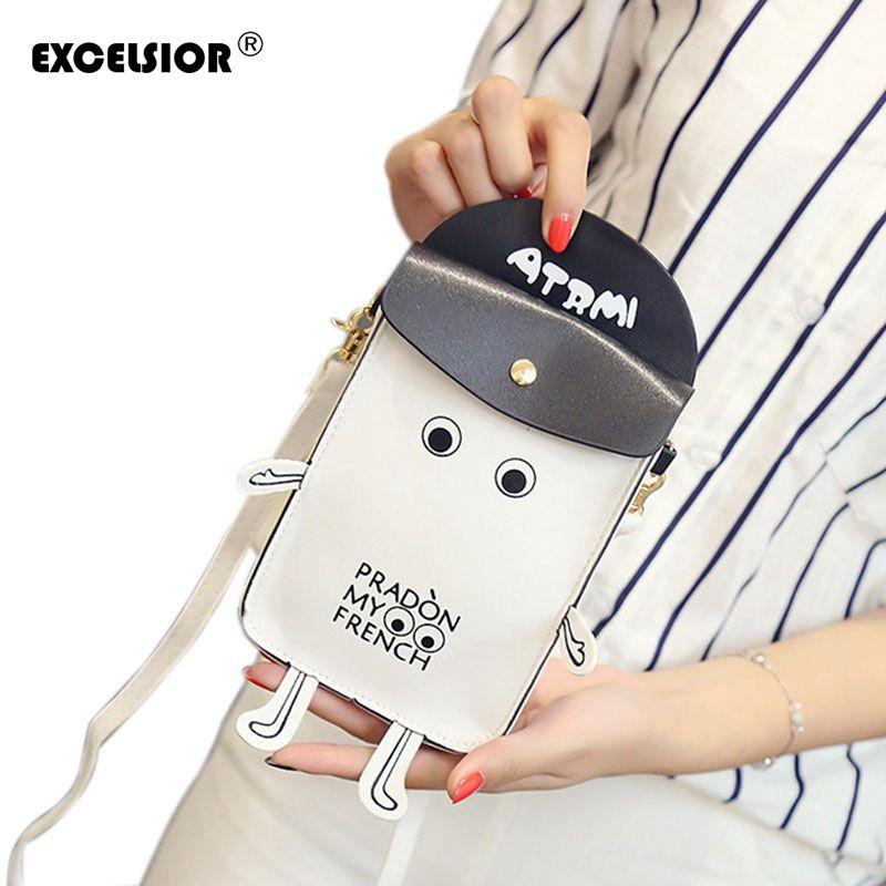 Excelsior nuevas mujeres lindas de la historieta robot forma pequeño bolso mini crossbody del hombro el bolso del teléfono de las señoras monederos niñas embrague de la cadena