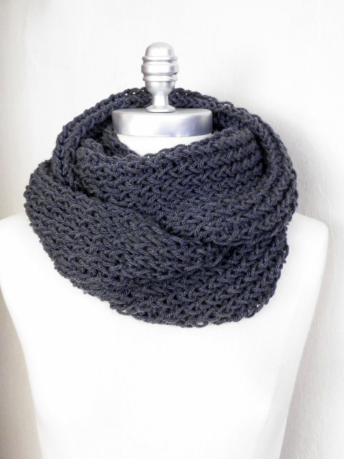 Charcoal Gray Scarf, Infinity Scarf, Knit Fall Scarf, Loop Scarf ...
