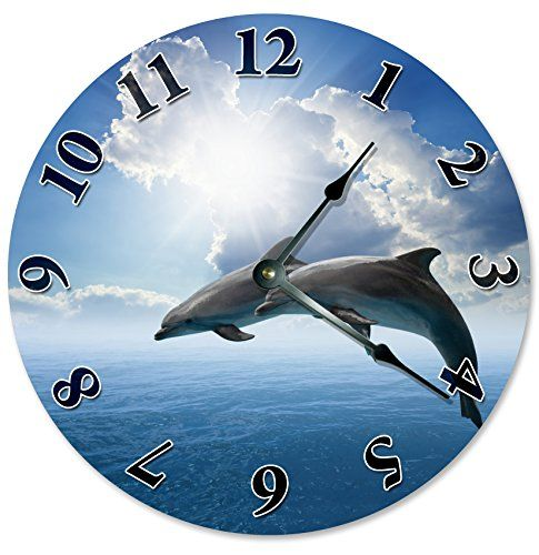 Dolphins And Blue Sky Beach Clock Large 105 Wall Decorative Round Circle Home Decor Novelty Clouds You Can Find More