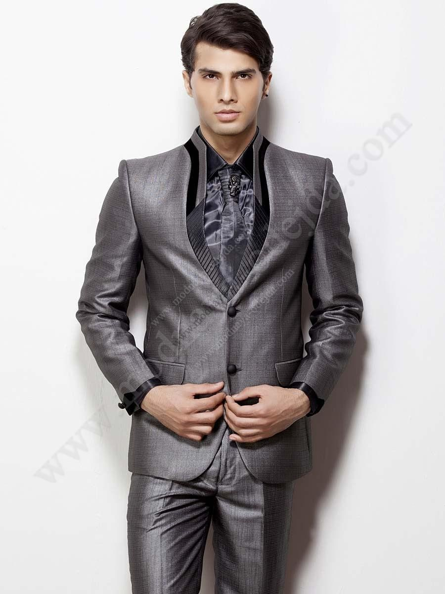 08bb1d61bb550 Серый мужской костюм-двойка + шёлковая рубашка + галстук с брошью ...