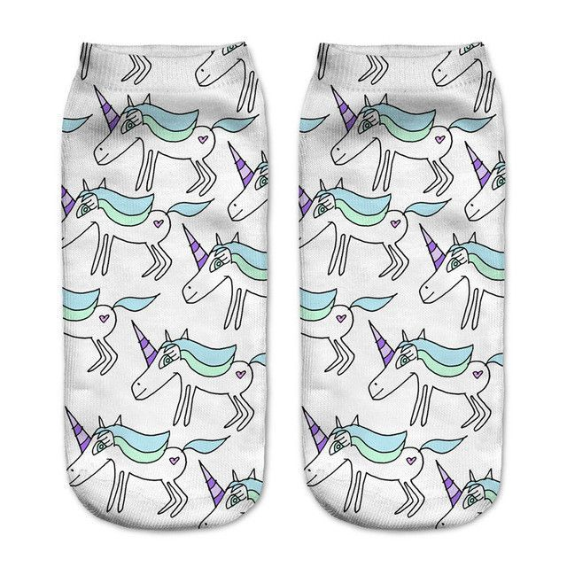 emoji unicorn funny socks Hot Sale 3d Printed womens socks low cut ankle short spaort socks