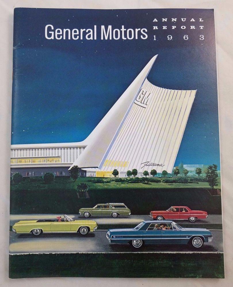 1963 Gm General Motors Annual Report Futurama Vintage Cars Advertisements Gmac Car Advertising General Motors Vintage Cars