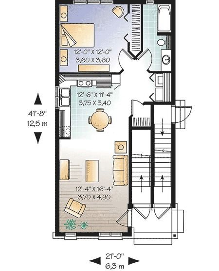 Plan 21426dr Apartments With Potential Commercial Space House Plans Floor Plan Design Floor Plans