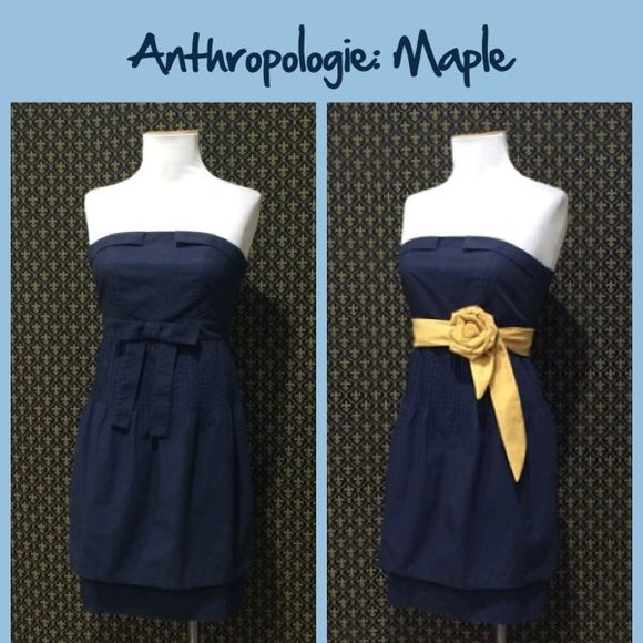 """Anthro """"Jazz Club Dress"""" by Maple Old school Anthro.  Crisp woven cotton in a navy color.  Great condition. Runs small. Like A 2/4   Zip closure.  **  Prices are as listed- Nonnegotiable.  I'm happy to bundle to save shipping costs, but there are no additional discounts.  No trades, paypal or condescending terms of endearment  ** Anthropologie Dresses Strapless"""