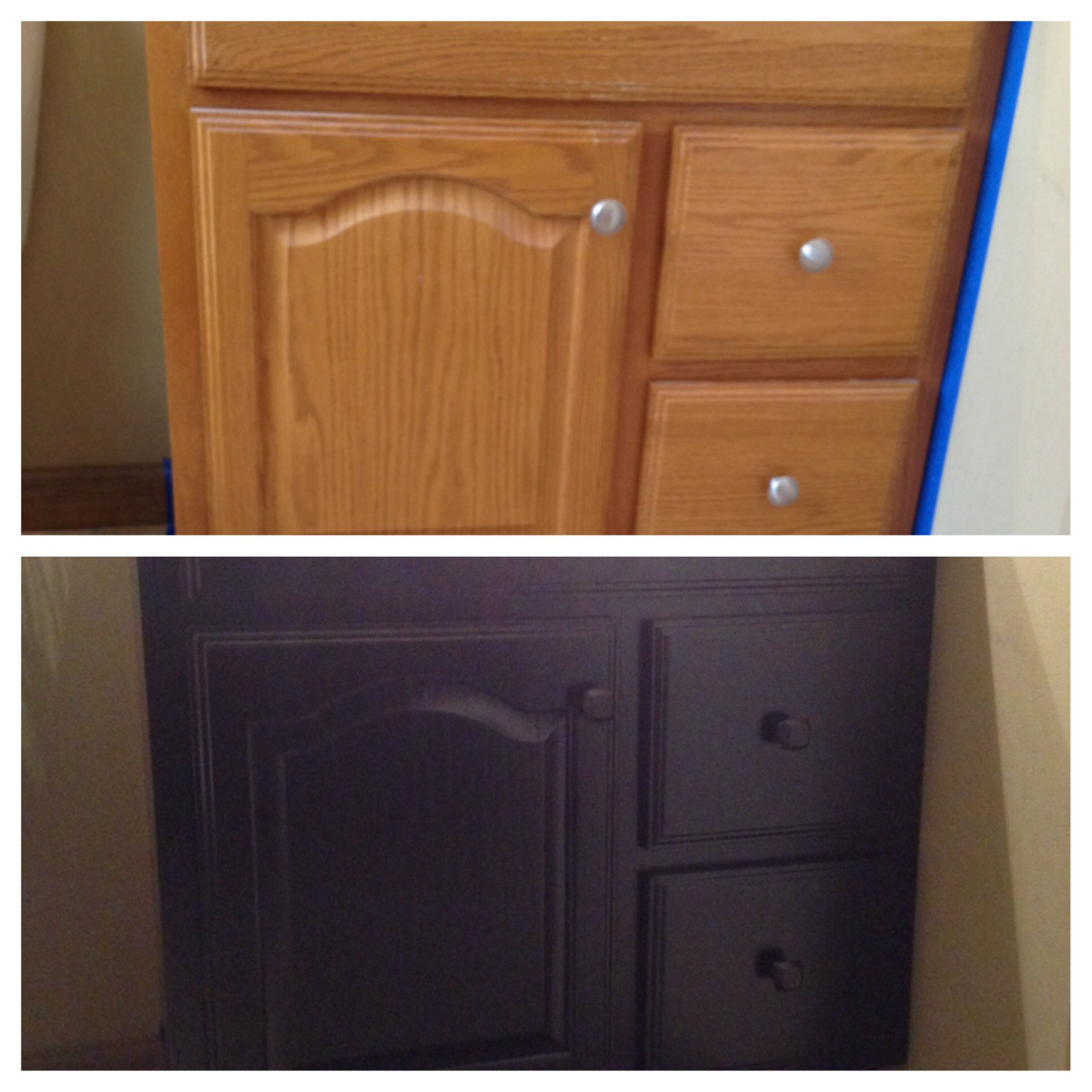 diy reface bathroom vanity 1quart of black satin paint 8 didn 39 t even use half of it 3 new. Black Bedroom Furniture Sets. Home Design Ideas