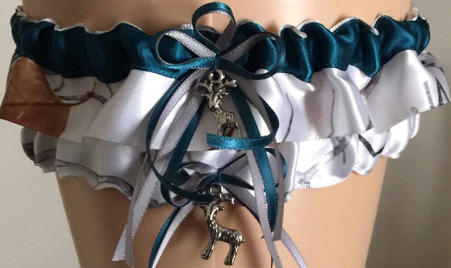 4fee573fbd3 True Timber Snowfall Teal and Silver Camo Wedding Garter Set