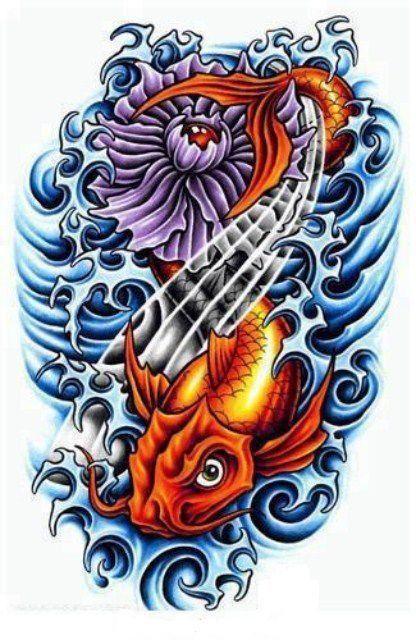 Koi Con Flor De Loto Tatuaje Pez Koi Pez Koi Tatuajes