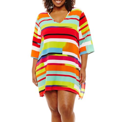 845595bca3 Porto Cruz Geometric Jacquard Swimsuit Cover-Up Dress Size 1X Msrp $48    eBay
