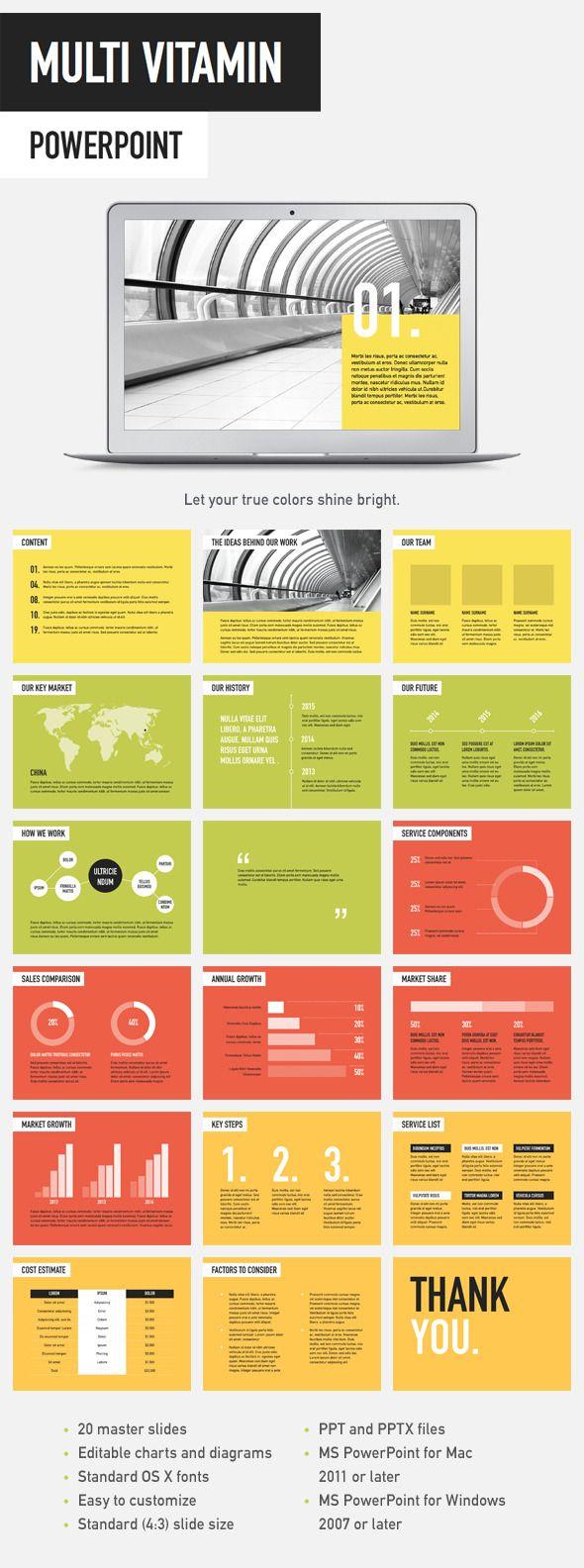 multi vitamin powerpoint template | presentation templates, Powerpoint templates