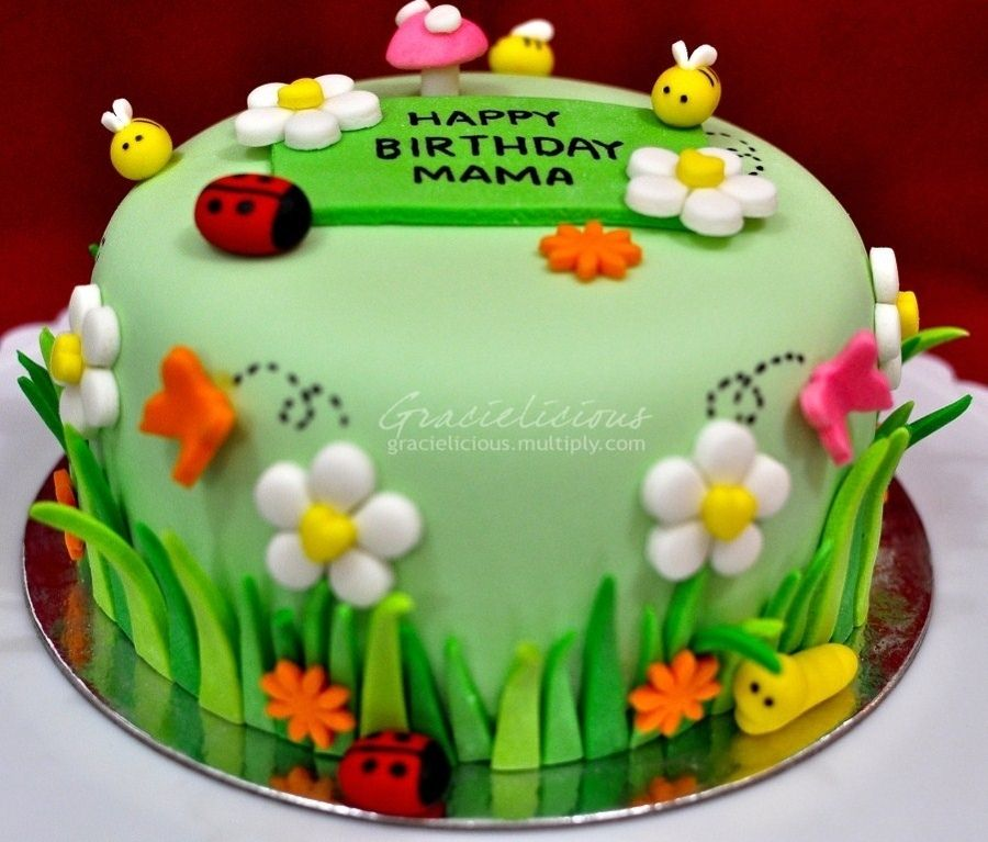 Garden Cake With Images Garden Birthday Cake Bug Birthday